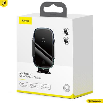 Baseus Light automata tartó és töltő szellőzőre-szélvédőre-műszerfalra - Fekete