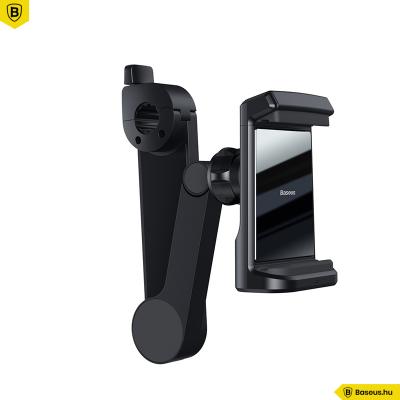 Baseus Energy fejtámlára rögzíthető telefontartó és vezeték nélküli gyorstöltő Qi 15W - Fekete