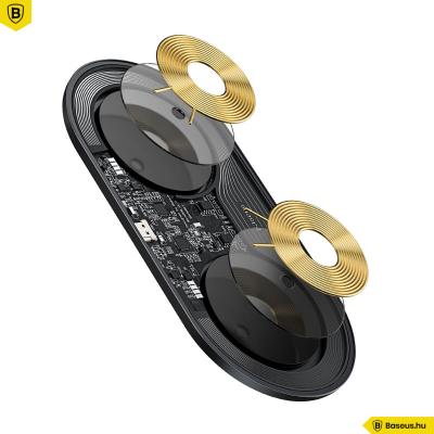 Baseus Simple Pro 2in1 vezeték nélküli Qi 15W töltő telefonhoz és AirPods Pro-hoz - Fekete