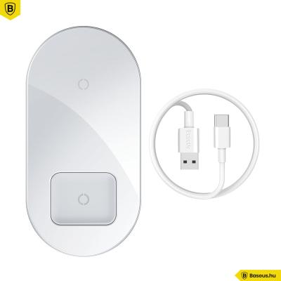 Baseus Simple Pro 2in1 vezeték nélküli Qi 15W töltő telefonhoz és AirPods Pro-hoz - Fehér