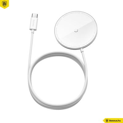 Baseus Simple MagSafe mágneses vezeték nélküli töltő 15W iPhone 12 szériához - fehér