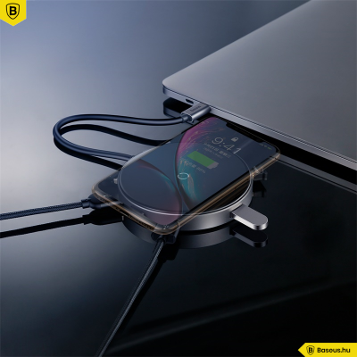 Baseus Multifunkcionális HUB beépített vezeték nélküli Qi 10W töltővel - Fekete