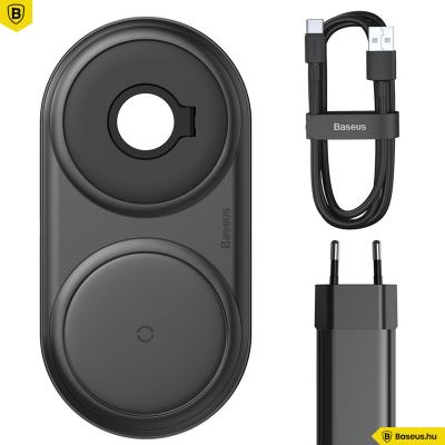 Baseus Planet vezeték nélküli gyorstöltő (okotelefon/AirPod/Apple Watch és fali töltő) - Fekete