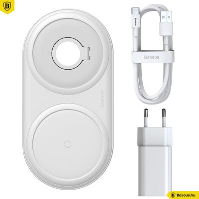 Baseus Planet vezeték nélküli gyorstöltő (okotelefon/AirPod/Apple Watch és fali töltő) - Fehér