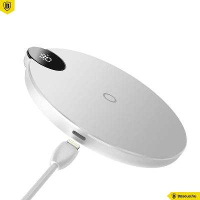 Baseus Digitális Led kijelzős vezeték nélküli wireless gyorstöltő - Fehér