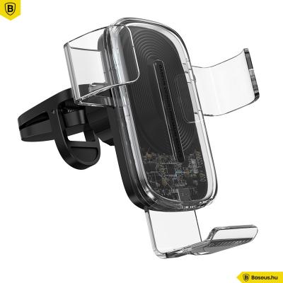 Baseus Explore gravitációs telefontartó vezeték nélküli töltéssel 15W - Átlátszó