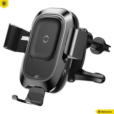 Baseus Smart automata autós tartó és Wireless töltő 2in1 gyorstöltéssel (10W) szellőzőrácsra - Fekete